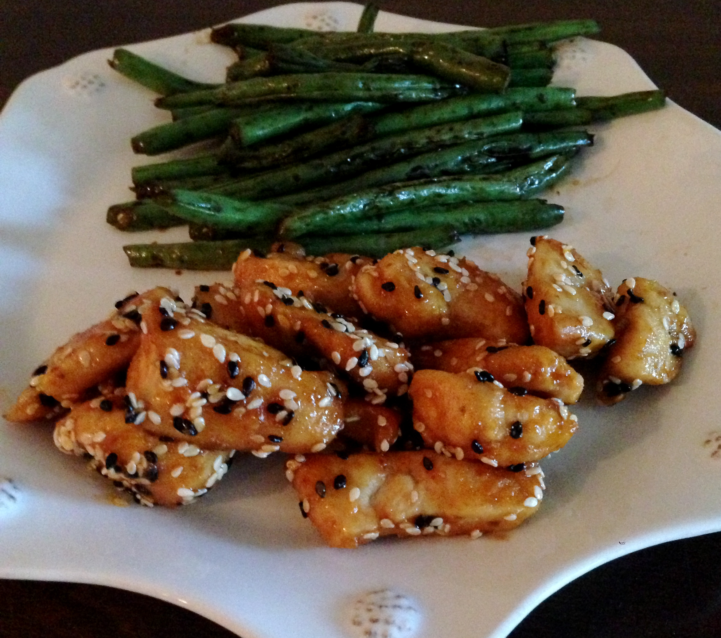 Skinny sesame chicken garlic soy sauce marinated green beans image forumfinder Images