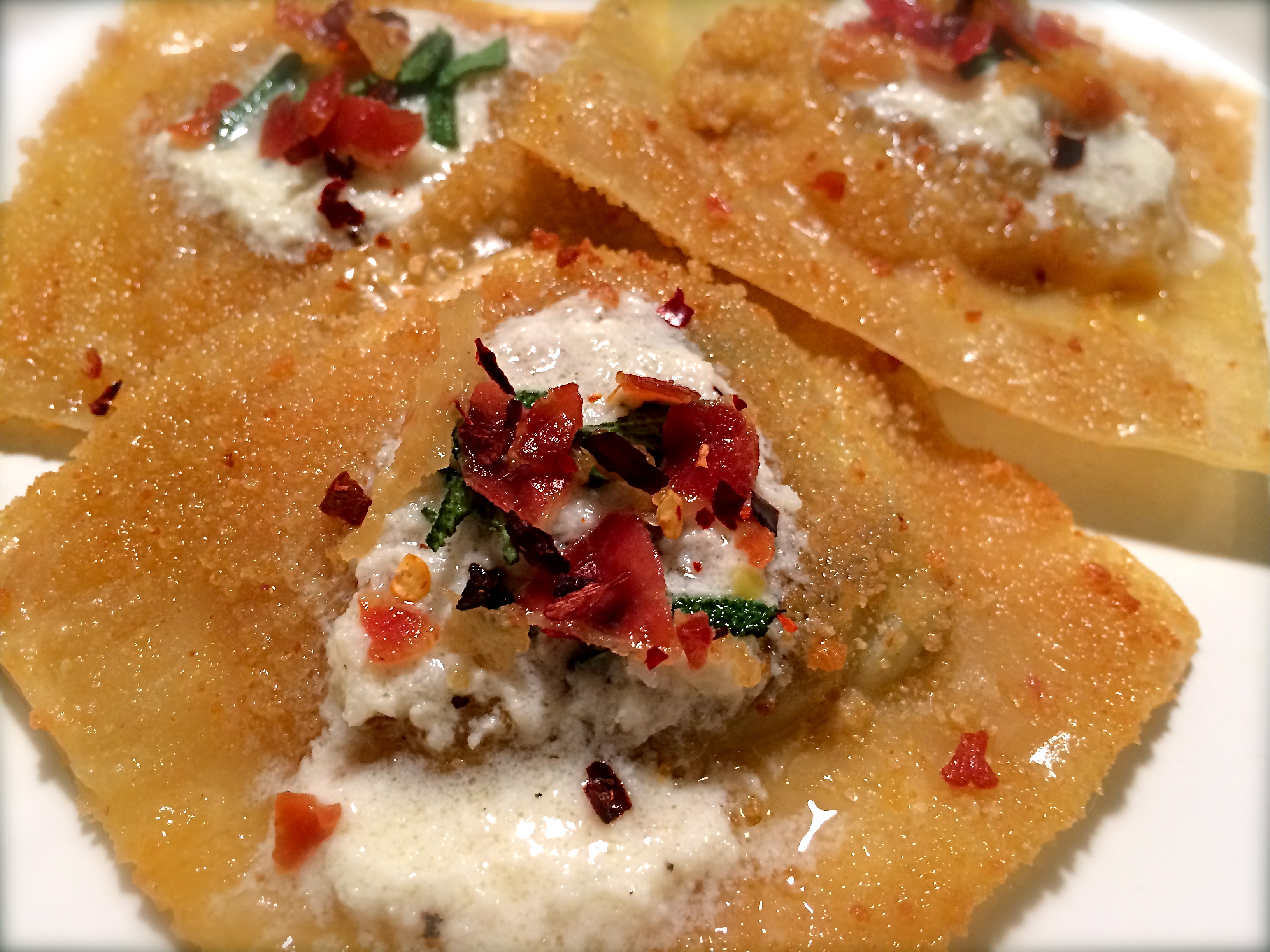 Roasted Vegetable Ravioli With Crispy Pancetta Recipes — Dishmaps