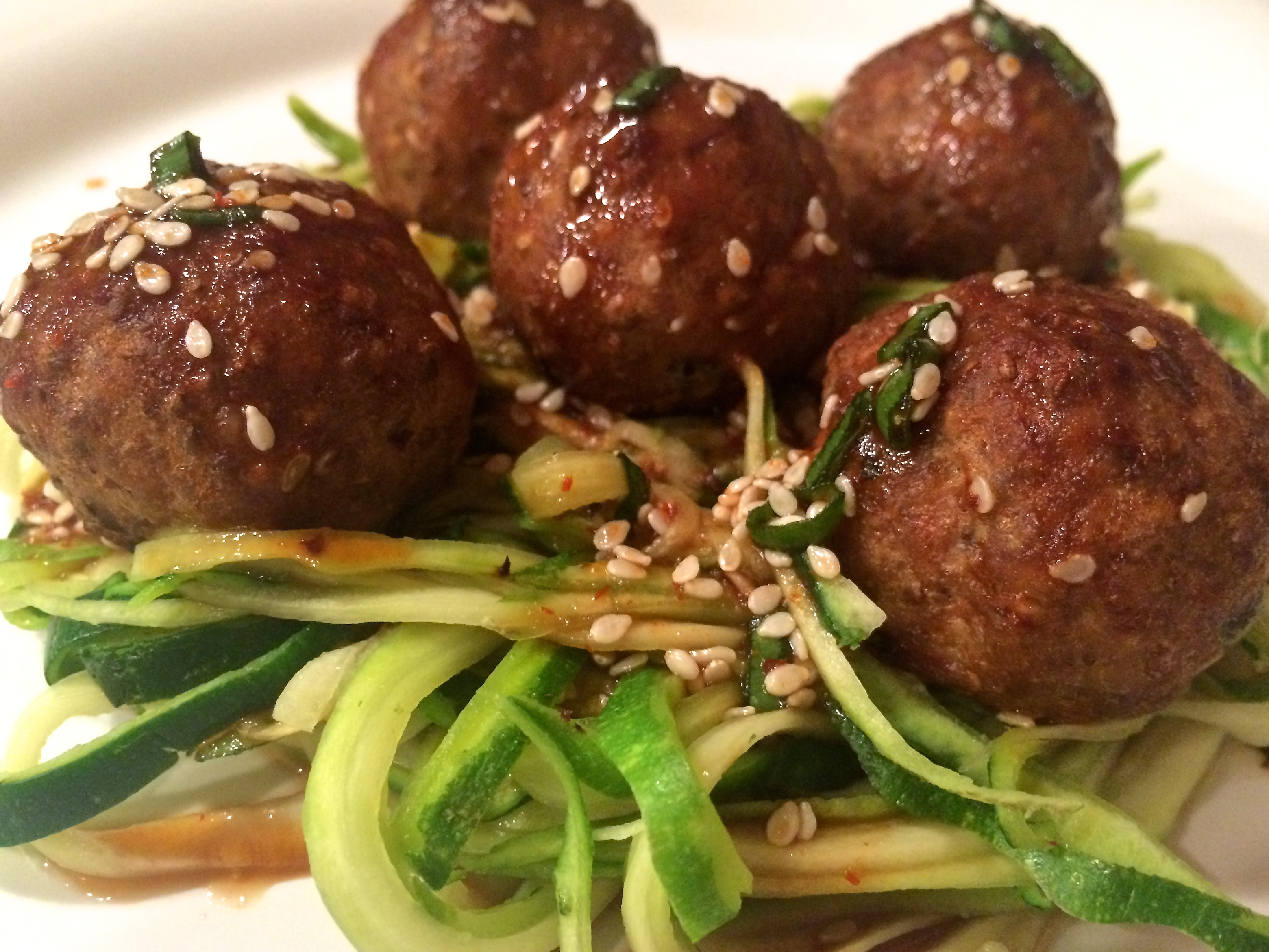 Grilled Sriracha-Sesame Turkey Meatballs Recipe — Dishmaps
